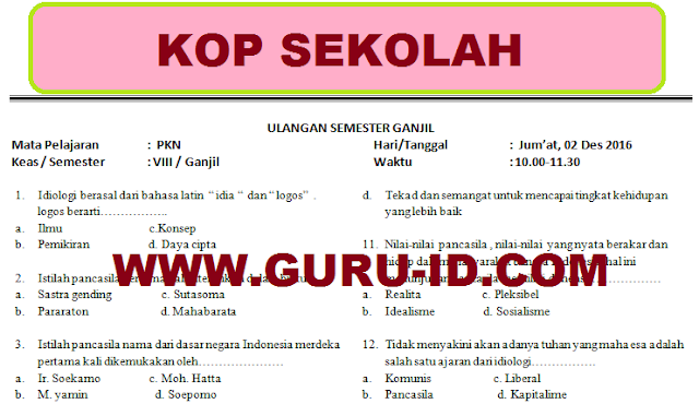 Pin Di Program Kerja Ujian 2018