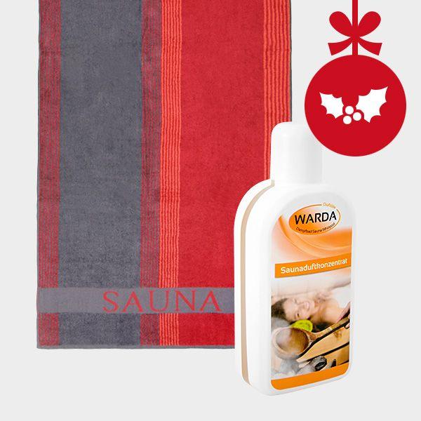 Unsere Sauna-Geschenkidee zu Weihnachten: Saunaaufguss inkl. hochwertigem Saunatuch zum günstigen Setpreis. #weihnachtsgeschenk #sauna #geschenk