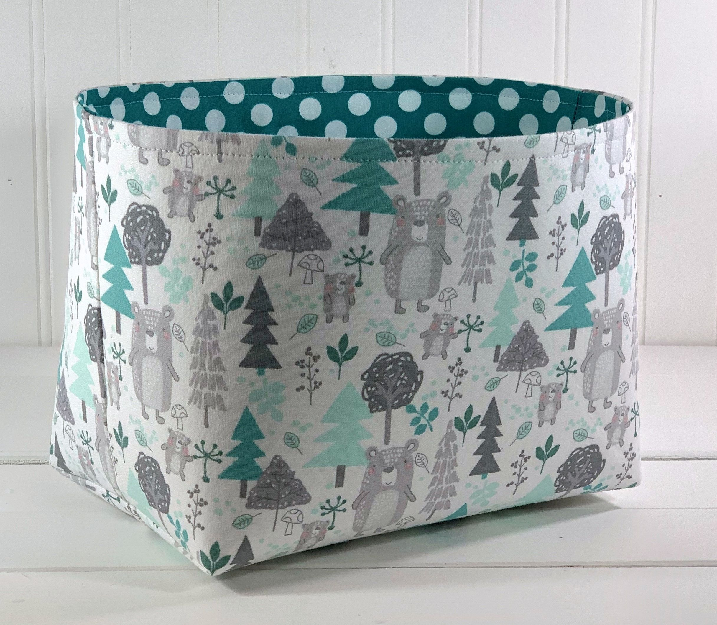 Woodland Nursery Storage Basket, Bear Nursery Decor, Fabric Organizer Bin - Woodland Bears Forest#basket #bear #bears #bin #decor #fabric #forest #nursery #organizer #storage #woodland