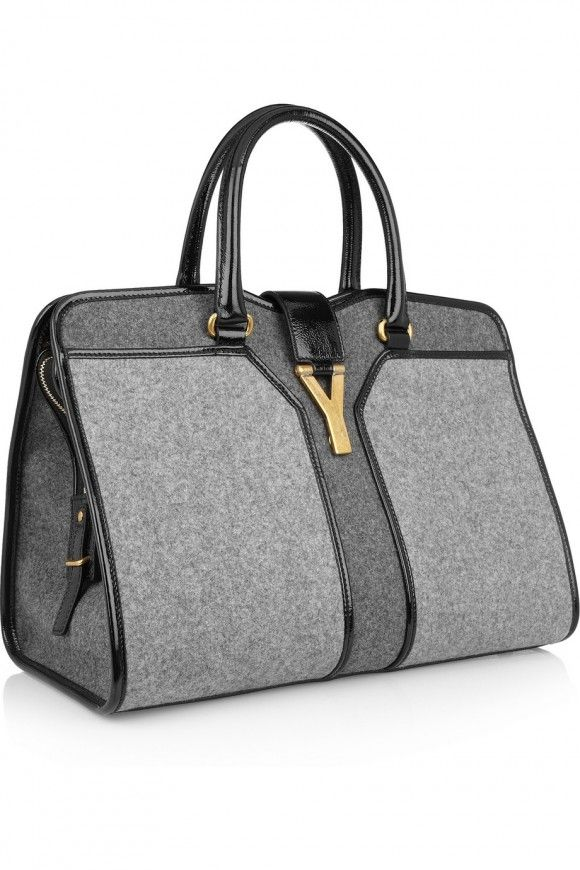 5be3e042e1055 YSL Cabas Chyc Medium wool felt and patent leather tote