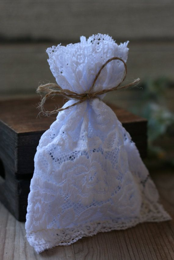 LaCe Wedding favor bags 50 WHITE RoSe lace rustic by kraftedheart