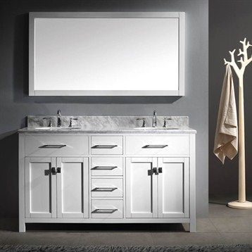 Virtu Usa Caroline 60 Double Sink Bathroom Vanity White White