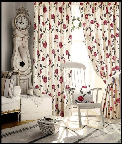 Floral Pencil Pleat Curtains Living Room Bedroom Ready Made Fully Lined Curtain Red Claret Wine Cream Burgun Curtains Living Room Floral Bedroom Red Curtains