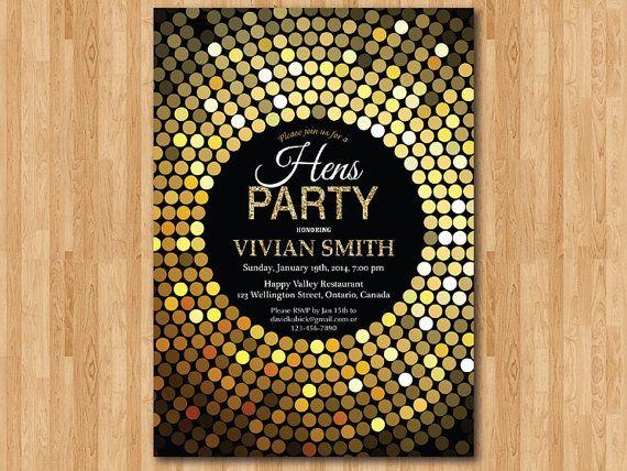 Hens Party Invitation Hen night invite Gold Glitter Black and – Hens Party Invitations