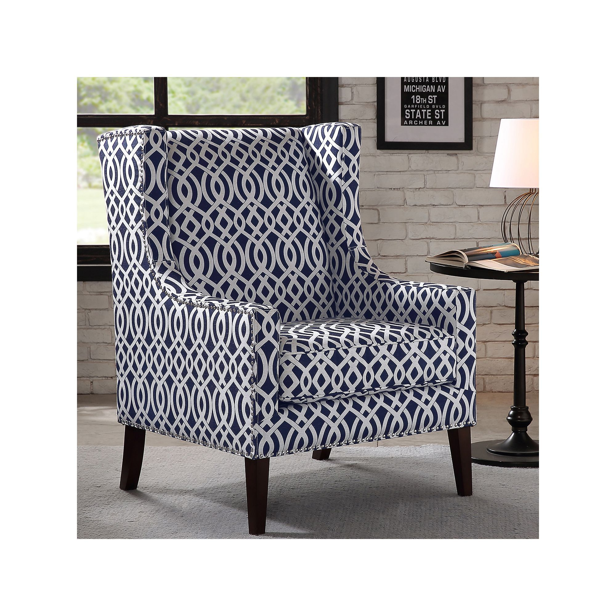 Best Madison Park Barton Print Accent Chair Blue Navy Blue 400 x 300