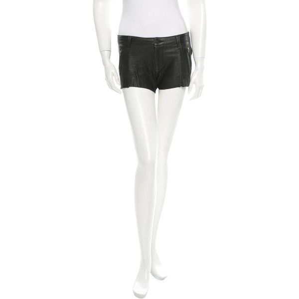 Pre-owned Siwy Leather Shorts ($95) ❤ liked on Polyvore featuring shorts, black, black shorts, siwy, black leather shorts, zipper shorts and leather shorts