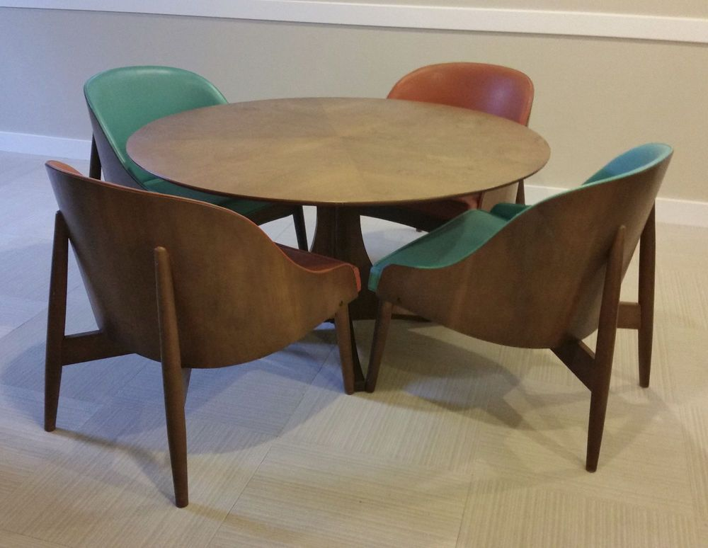 Kodawood Vintage Mid Century Modern Game Table 4 Matching Chairs Modern Game Tables Card Table And Chairs Game Table And Chairs