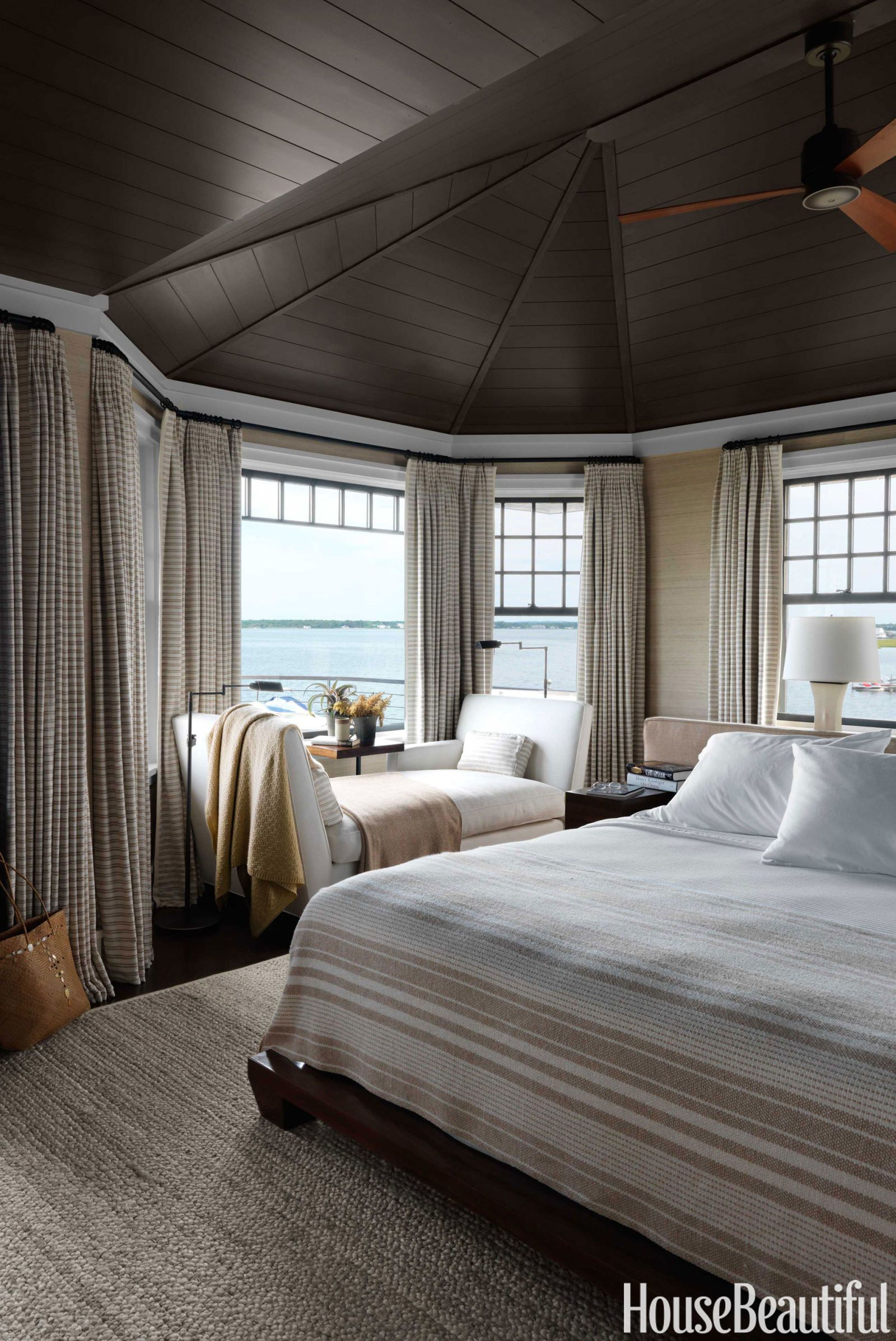 Walls In The Master Bedroom Are Covered Donghia S Silk Texture Ii And Ceiling Is Painted Benjamin Moore Regal Select Night Horizon To
