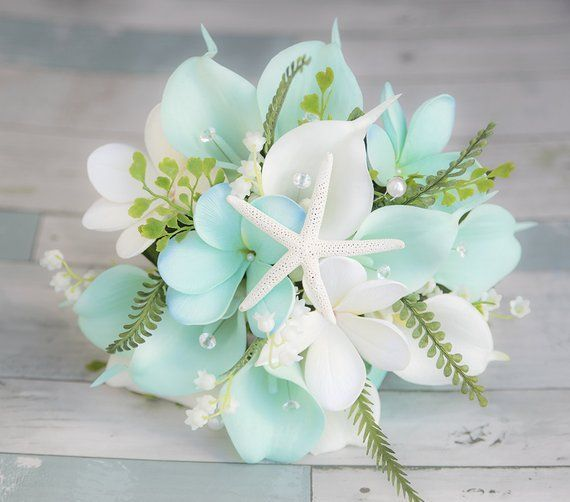 Beach Wedding Bouquet Tropical Bouquet Silk Wedding Bouquets Real Touch Bouquet Aqua Bouquet Beach Wedding Flowers Beach Wedding Bouquets Turquoise Bouquet