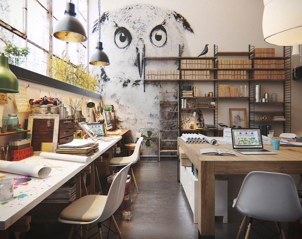 An Industrial Scandinavian Studio Filled With Artwork Studio Interior Industrial Workspace Art Studio Space