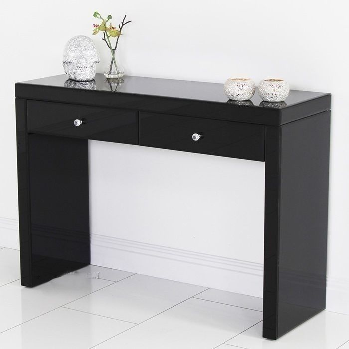 Mirrored dressing table black modern console desk vanity for Bedroom vanity with drawers
