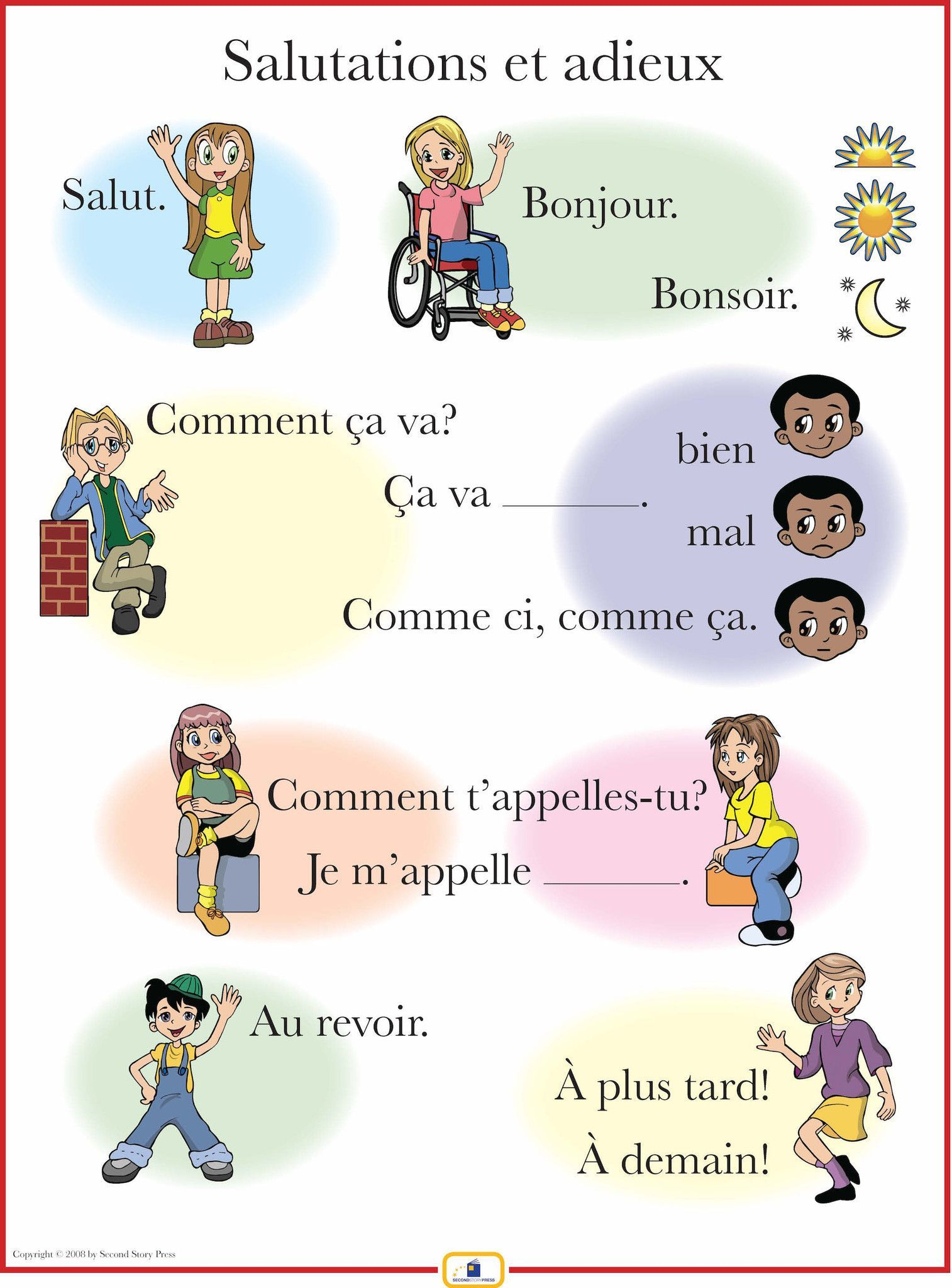 French Set Of 4 Posters With Everyday Phrases