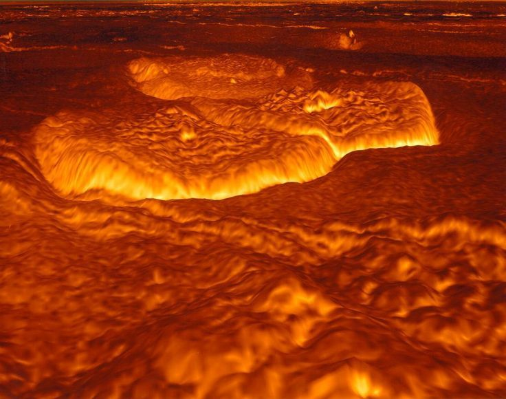 This computer reconstruction of the surface of Venus was created from data from the Magellan spacecraft.  Magellan orbited Venus and used radar to map the planet's surface between 1990 and 1994. Magellan found large circular domes, typically 25-kilometers across, shown here. Volcanism is thought to have created the domes, although the precise mechanism remains unknown. Venus' surface is so hot and hostile that no surface probe has lasted more than a few minutes.