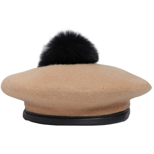 9bfa914d084b6 Eugenia Kim Women Hadley Wool Felt Beret With Fur Pompom ( 220) ❤ liked on  Polyvore featuring accessories