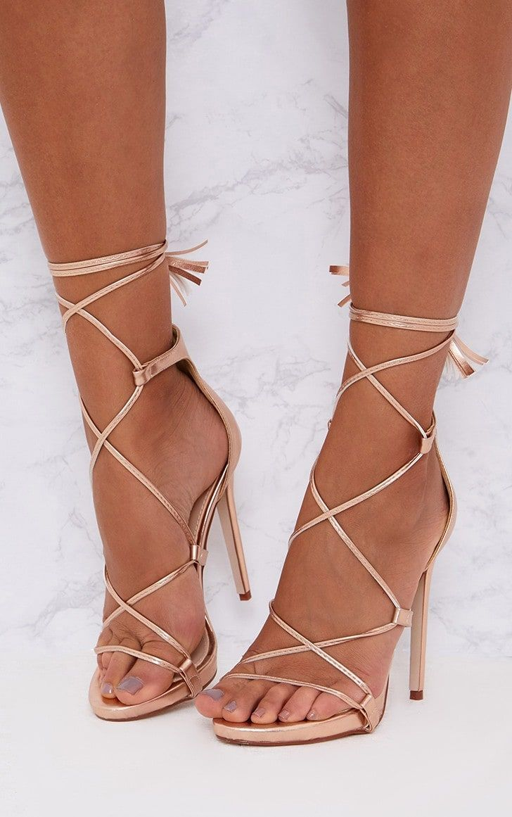 76cfd7b9814 Rose Gold PU Tassel Lace Up Heels in 2019   shopping list   Lace up ...