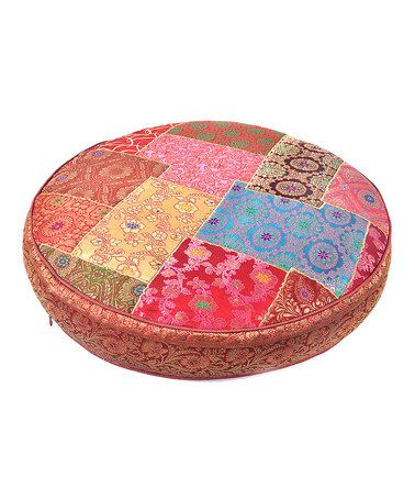 Take a look at this Red Medium Patchwork Silk Circle Floor Pillow by Found Object on #zulily today!