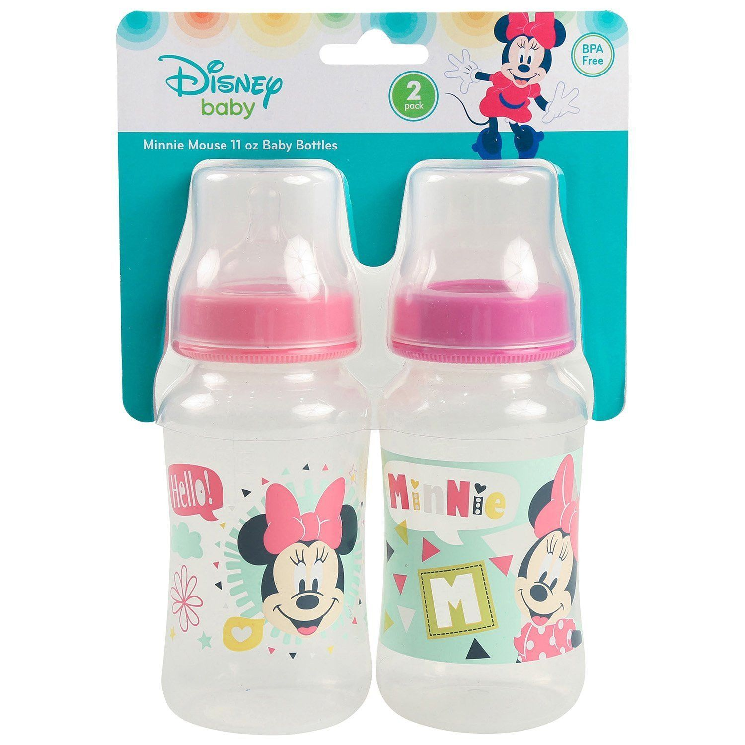 Disney Minnie Mouse 2 Pack 11 Ounce Bottles Hello Print In 2020 Baby Bottles Baby Girl Outfits Newborn Disney Baby Nurseries