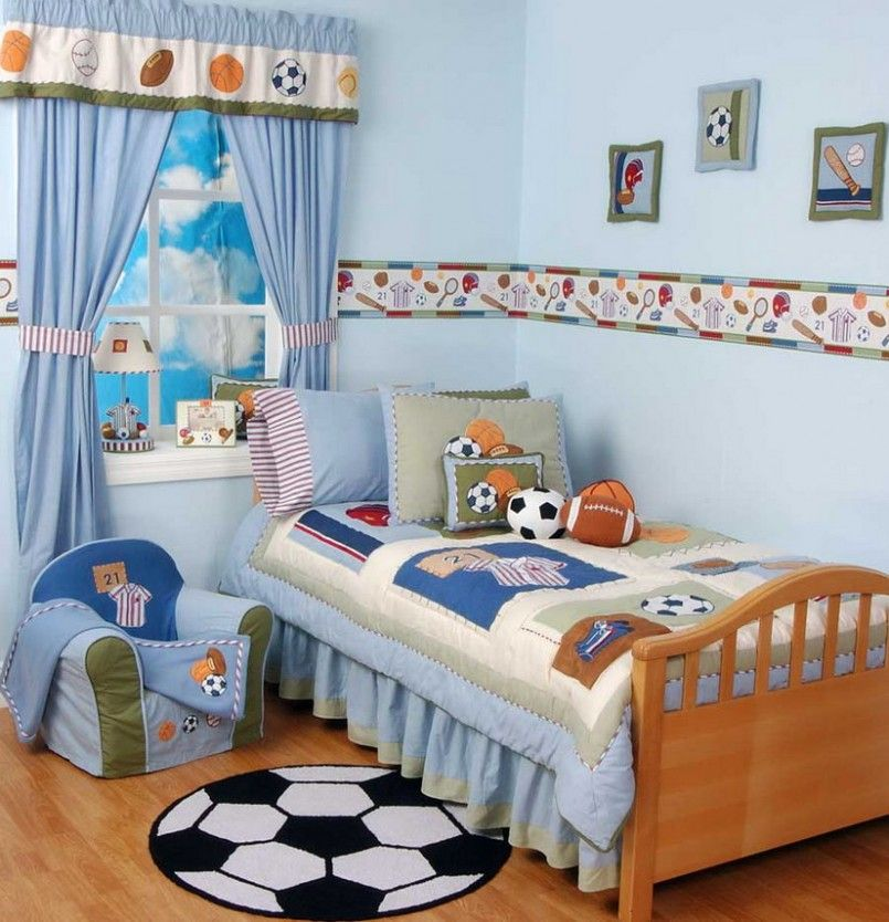 Kids Bedroom Boy kids bedroom : stunning football themed blonde wood boys room blue