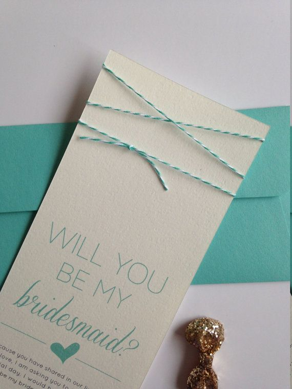 "Turqoise Twine ""Will You Be My Bridesmaid"" Card and Envelope"
