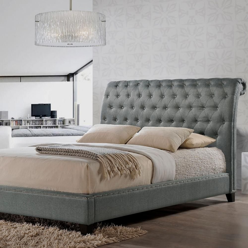 Baxton Studio Jazmin Transitional Gray Fabric Upholstered King