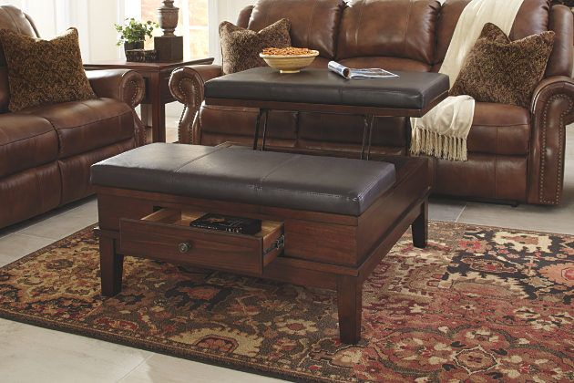 Beau Medium Brown Gately Coffee Table With Lift Top View 3 · Leather Ottoman ...