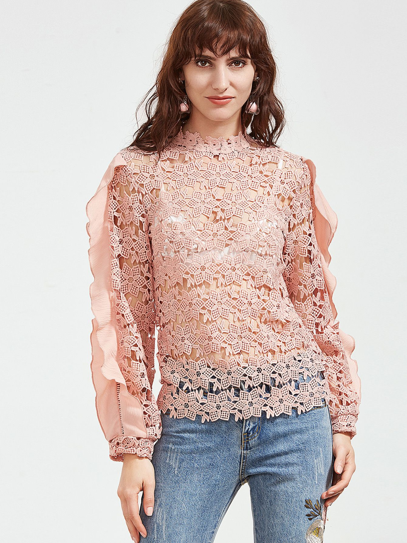 Shop Pink Ruffle Trim Hollow Out Embroidered Lace Top online. SheIn ...
