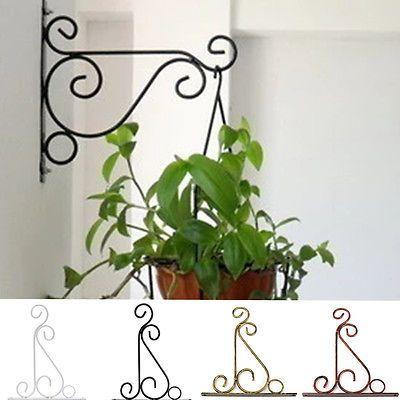 Iron Garden Wall Light Hanging Flower Plant Pot Bracket Hook Shelf
