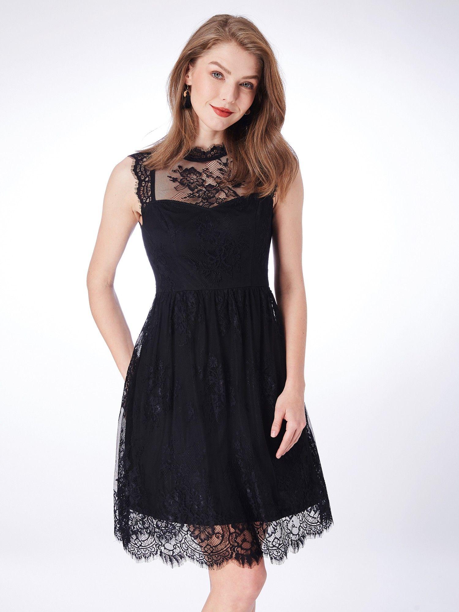 eeca20ed22f9 Alisa Pan Sleeveless Lacey Little Black Dress | Ever-Pretty #lacedress  #shortdress #partydress #EverPretty #blackdress #partydresses