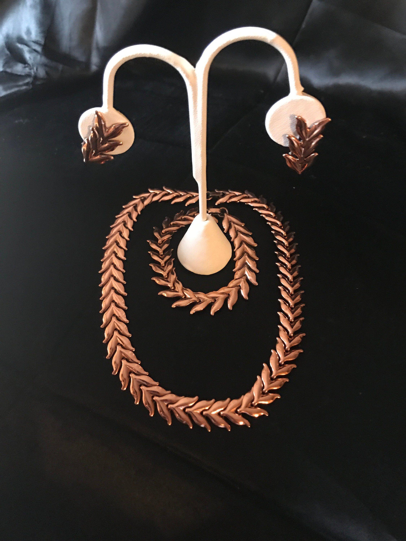 Renoir Copper Leaf Set Necklace Bracelet Clip Earring