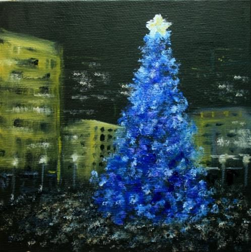 """Daily Paintworks - """"Tree Lighting at the Square"""" - Original Fine Art for Sale - © Jean Nelson"""