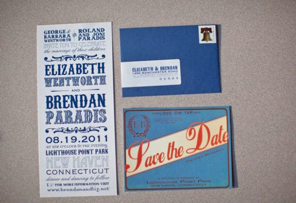 Liz's Classic Playbill invites featured on Style Me Pretty! (photo by Behind the Lens Photography)
