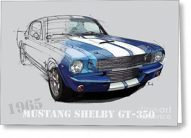 Mustang Shelby Gt-350, Blue And White Classic Car, Gift For Men Greeting Card by…