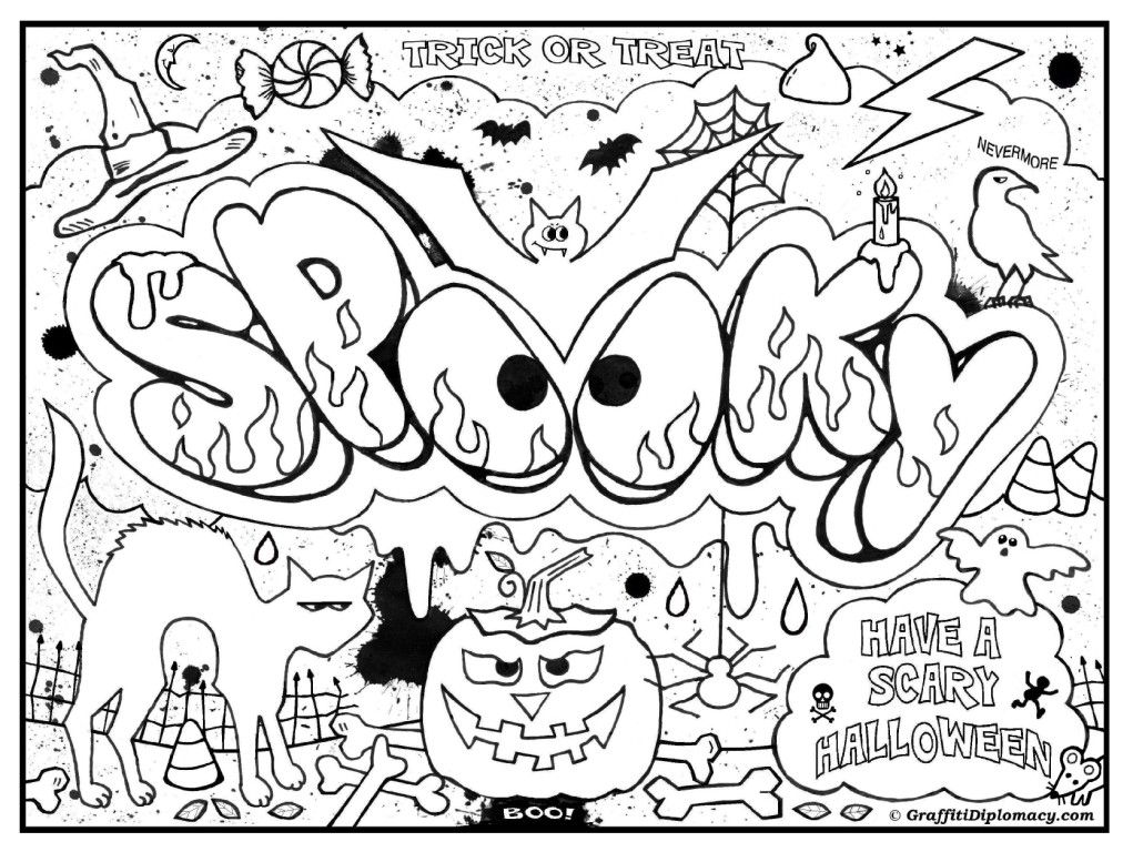 Spooky Coloring Page Graffiti Diplomacy Docu Jpg 1 021 768 Pixels Coloring Pages For Teenagers Halloween Coloring Coloring Pages