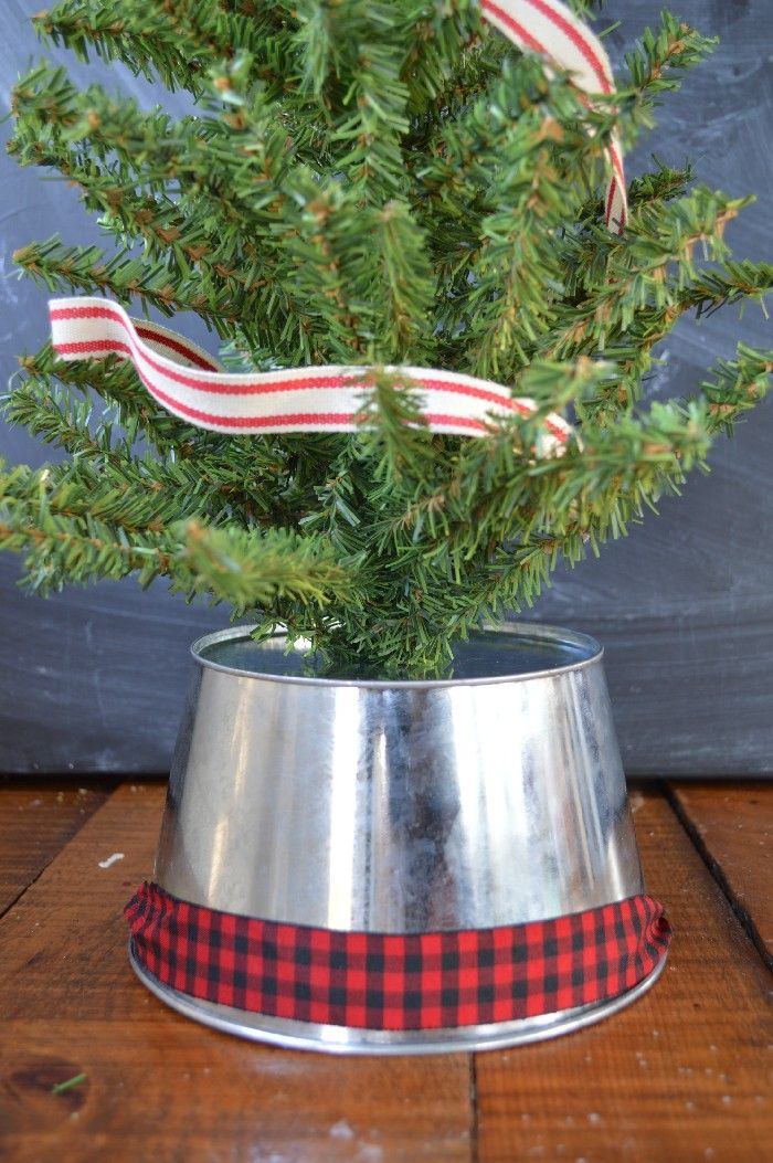 Turn A Galvanized Bucket Into A Mini Tree Stand Christmas Tree