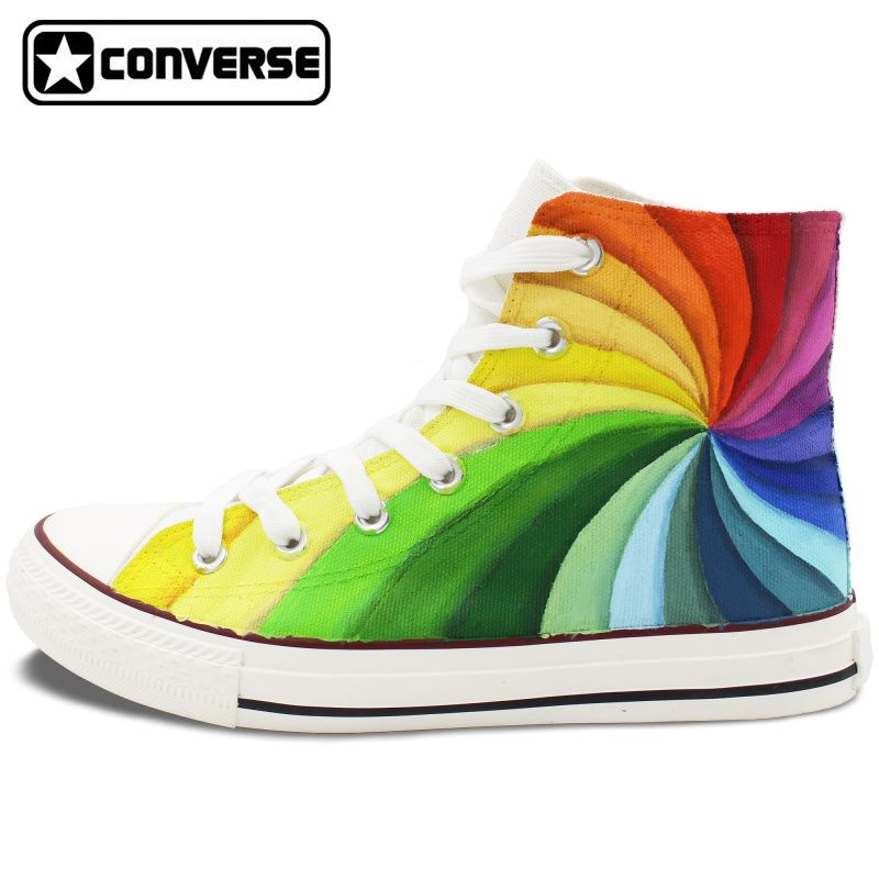 Men Womens Converse All Star Hand Painted Shoes Design Colorful Rainbow  Vortex Canvas Sneakers Flats High 37d2c98cebd0