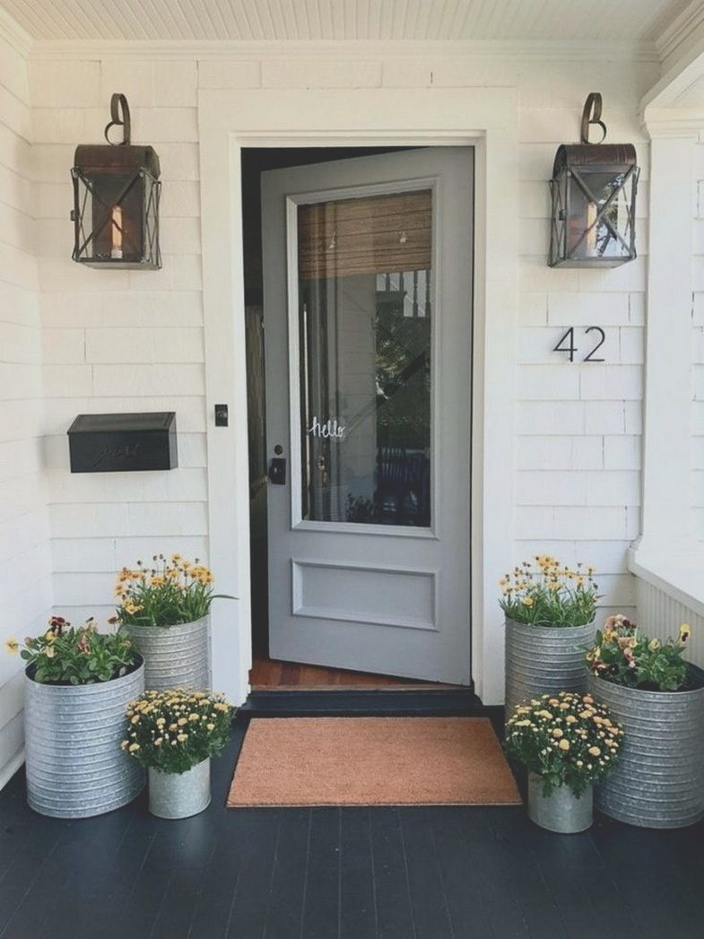 Front Door Design Ideas Veser Vtngcf In 2020 Front Porch Decorating Front Porch Makeover Small Porch Decorating