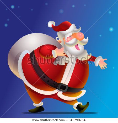 Cute Santa Claus cartoon happy carrying sack full of gifts.