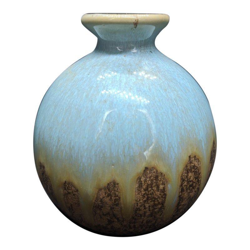 Home Decor or Gift. Studio Pottery Flower Vase with Drip Glaze Finish Vintage German Pottery Vase