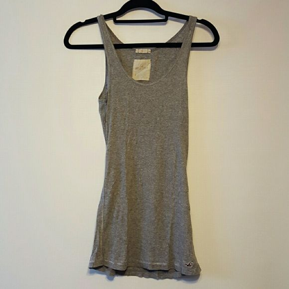 Hollister gray tanktop Very long and stretchy. Hollister Tops Tank Tops