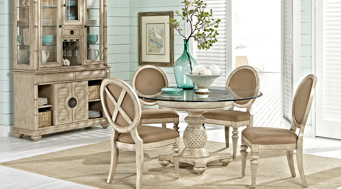 Cindy Crawford Home Key West Sand 5 Pc Round Dining Room With Oval Chairs Round Dining Room Dining Room Sets Round Dining Room Sets