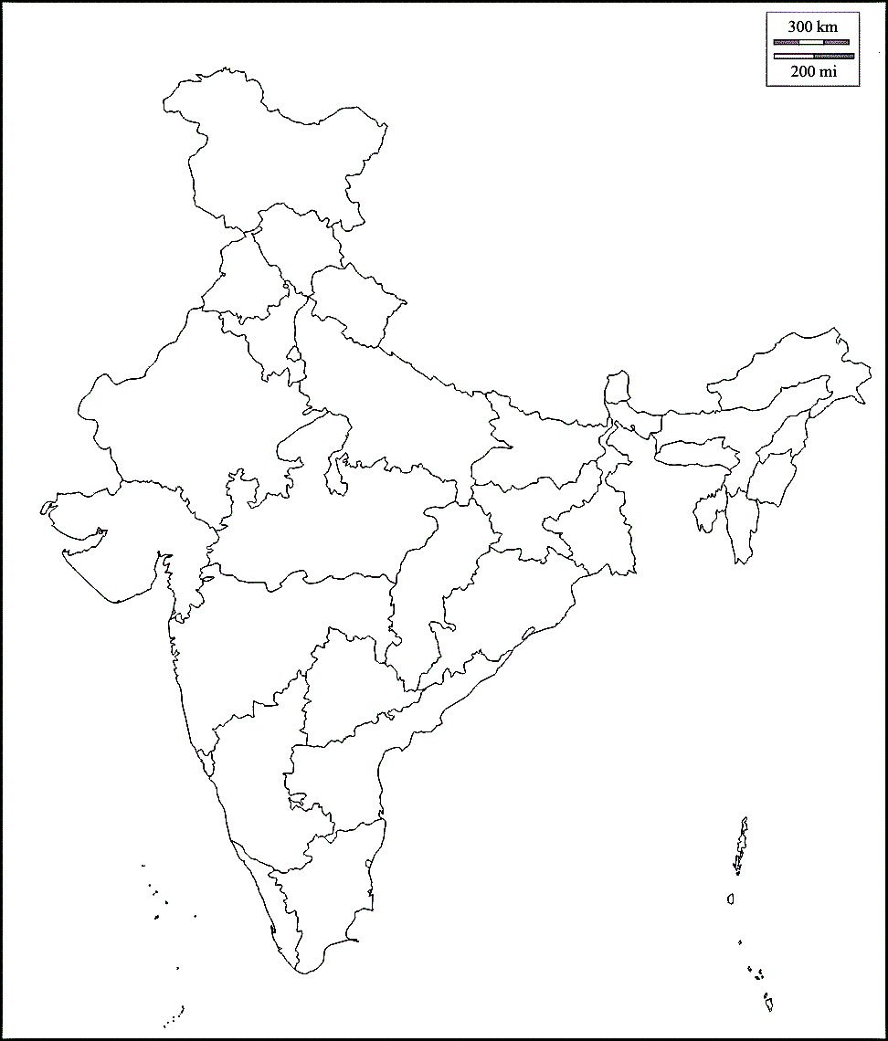 on the outline map of india