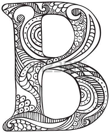 Letra mayúscula T dibujado a mano en negro - hoja para colorear para ...