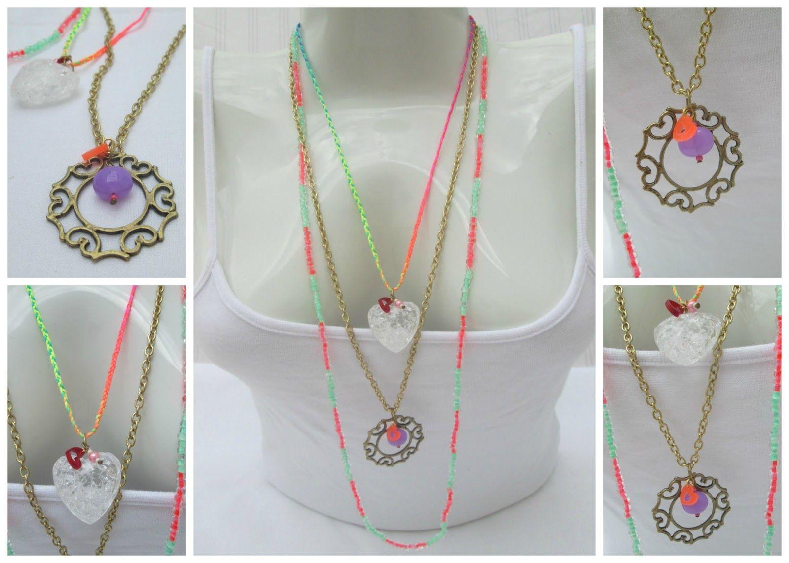 Collar: Menta y golosinas  Materiales: Cadena metálica, dije pavonado, dije corazón acrílico, lazo neón, mostacillas sencillas y checas, elementos acrílicos, perlas  Valor: $25.000