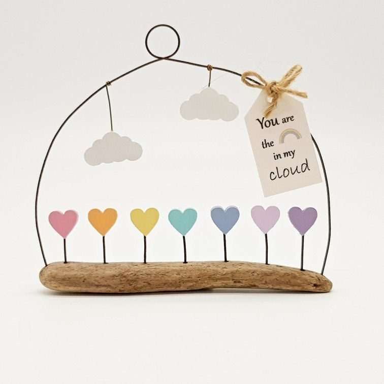 Pastel rainbow heart cloud driftwood mom gift youre my
