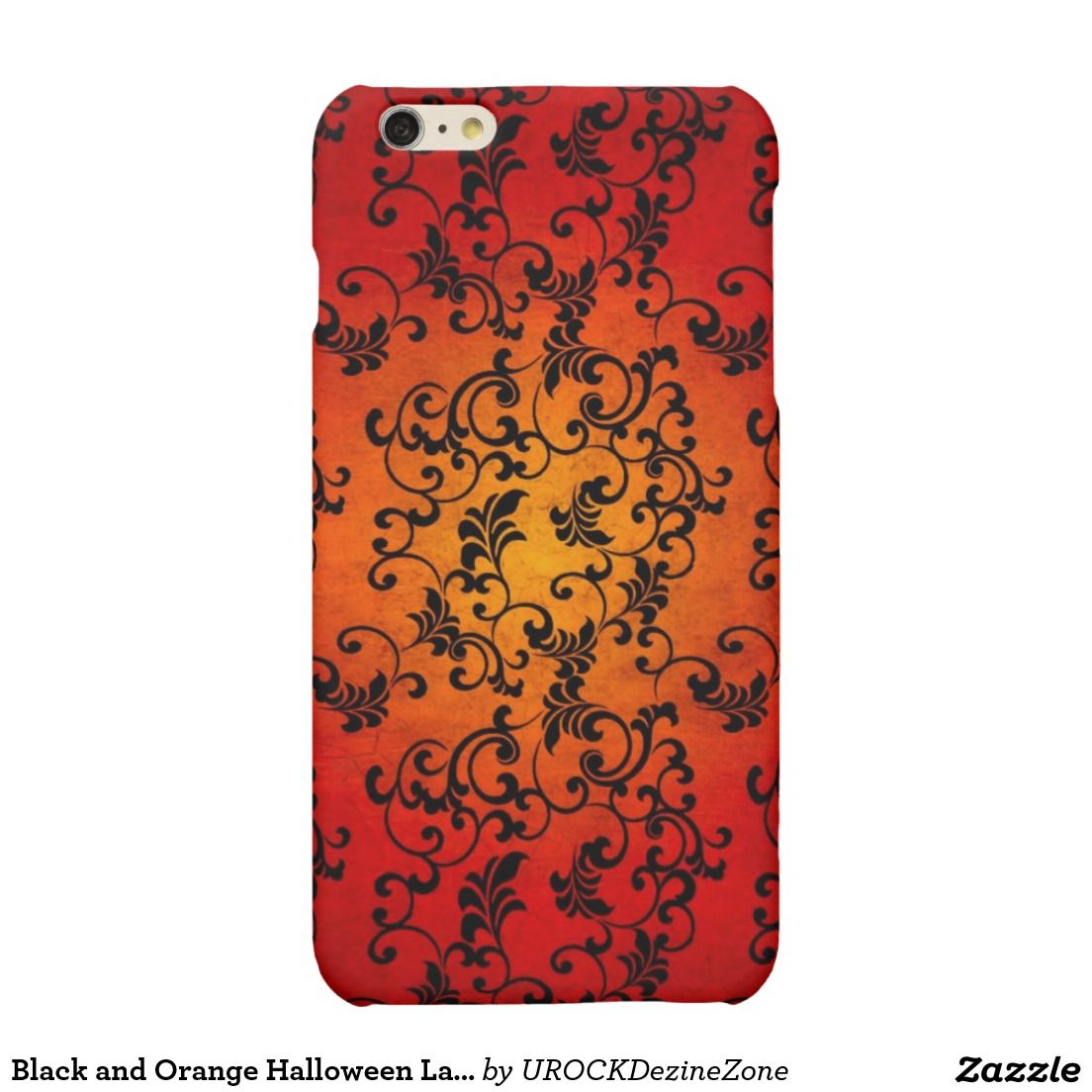 Black and Orange Halloween Lace #iPhone 6 Plus Case  #zazzle