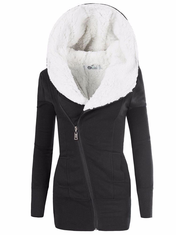 Damen Jacke Mantel Winterjacke Hoodie Winter Pullover Kapuze Gefuttert M Winterjacken Wintermantel Damen Jacken