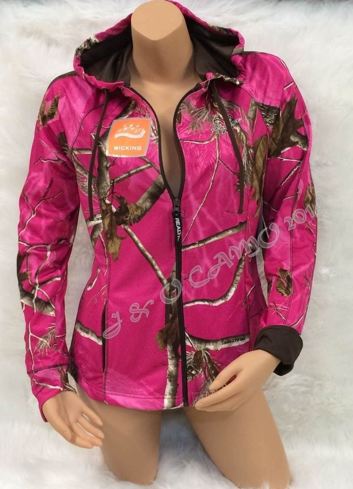 9c26f31be66b NEW!!! REALTREE Women s HOT PINK Camo Brown Accents Jacket Hoodie ...