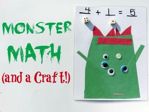 Monster Math Game And Craft Monster Math Halloween Math Math