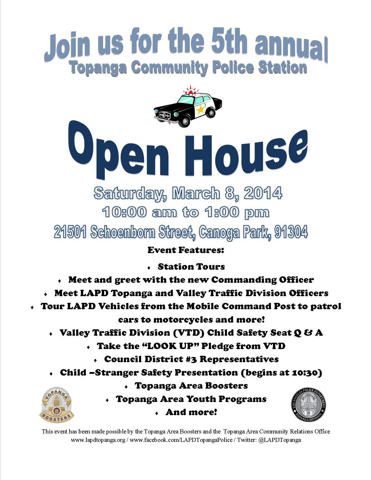 openhouse Topanga Community Police Station  SAT, Mar 8, 10AM