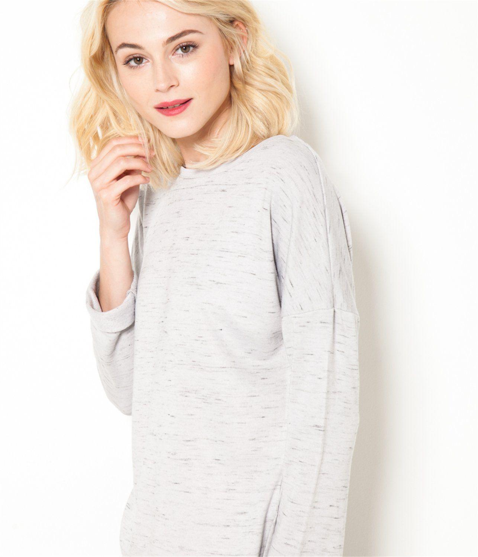T-shirt manches longues esprit sweat gris chiné Camaïeu 2016